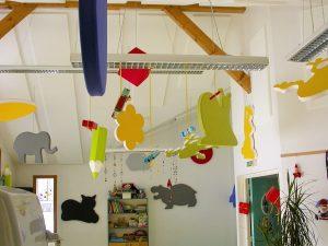 Baffles & objets acoustiques - Baffles & objets Baffle Absorber Ludique color posée au plafond par suspension