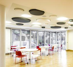 Design acoustique - Design Forme acoustique sur mesure - capteur acoustique color posé au plafond par collage