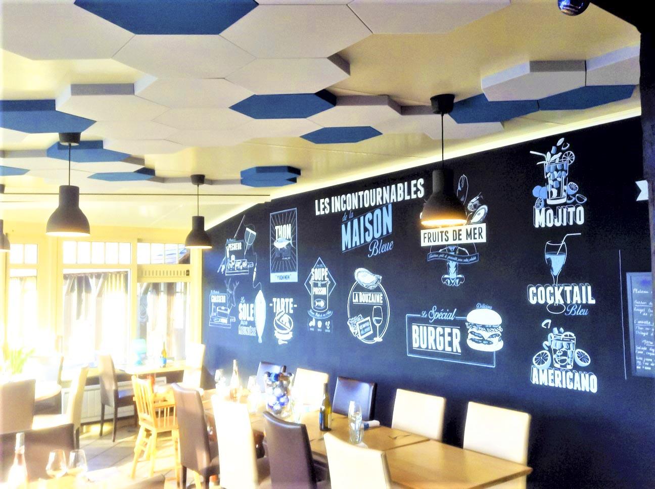 Panneaux acoustiques - Panneaux Ambiance design color posé au plafond par collage en forme d'hexagones