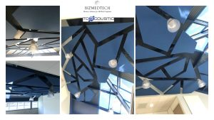 Design acoustique - Design Forme acoustique sur mesure - capteurs acoustiques posés au plafond par suspension
