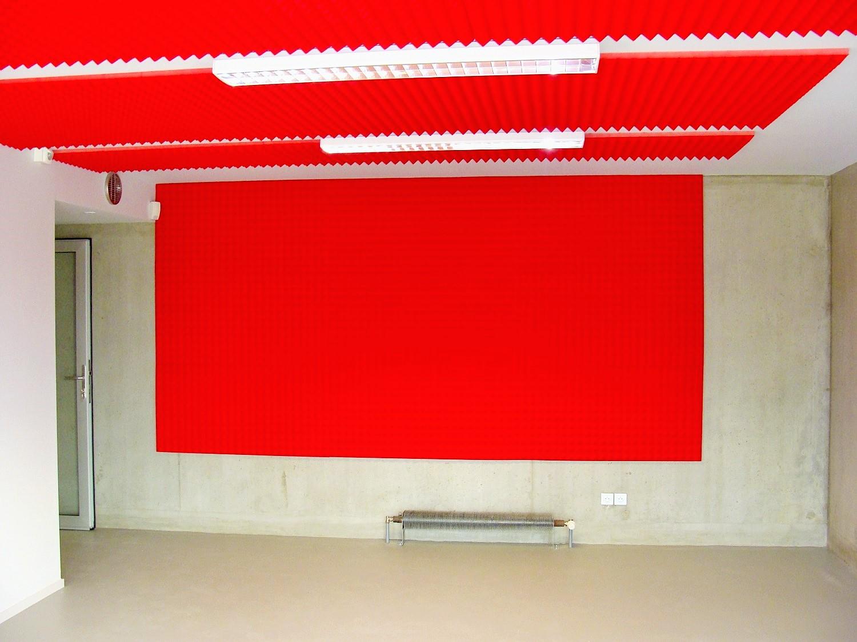 Panneaux acoustiques - Panneaux Ambiance relief pyramide color posé au plafond et mur par collage