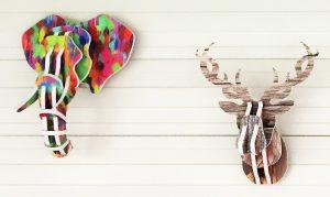 Design acoustique - Design Trophée acoustique picture en forme de tête d'éléphant et de tête de cerf