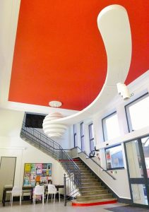 Design acoustique - Design Forme acoustique sur mesure - luminaire posé au plafond par collage et suspension