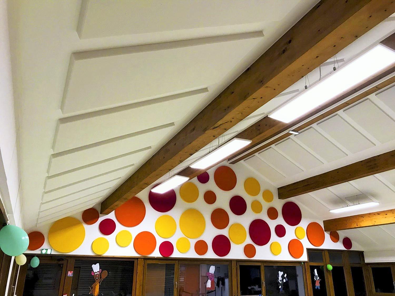 Panneaux acoustiques - Panneaux Ambiance design color posé au mur par collage en forme de cercles