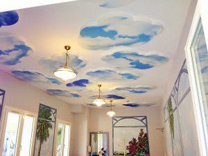 Panneaux acoustiques - Panneaux Ambiance picture posé au plafond par collage en forme nuage