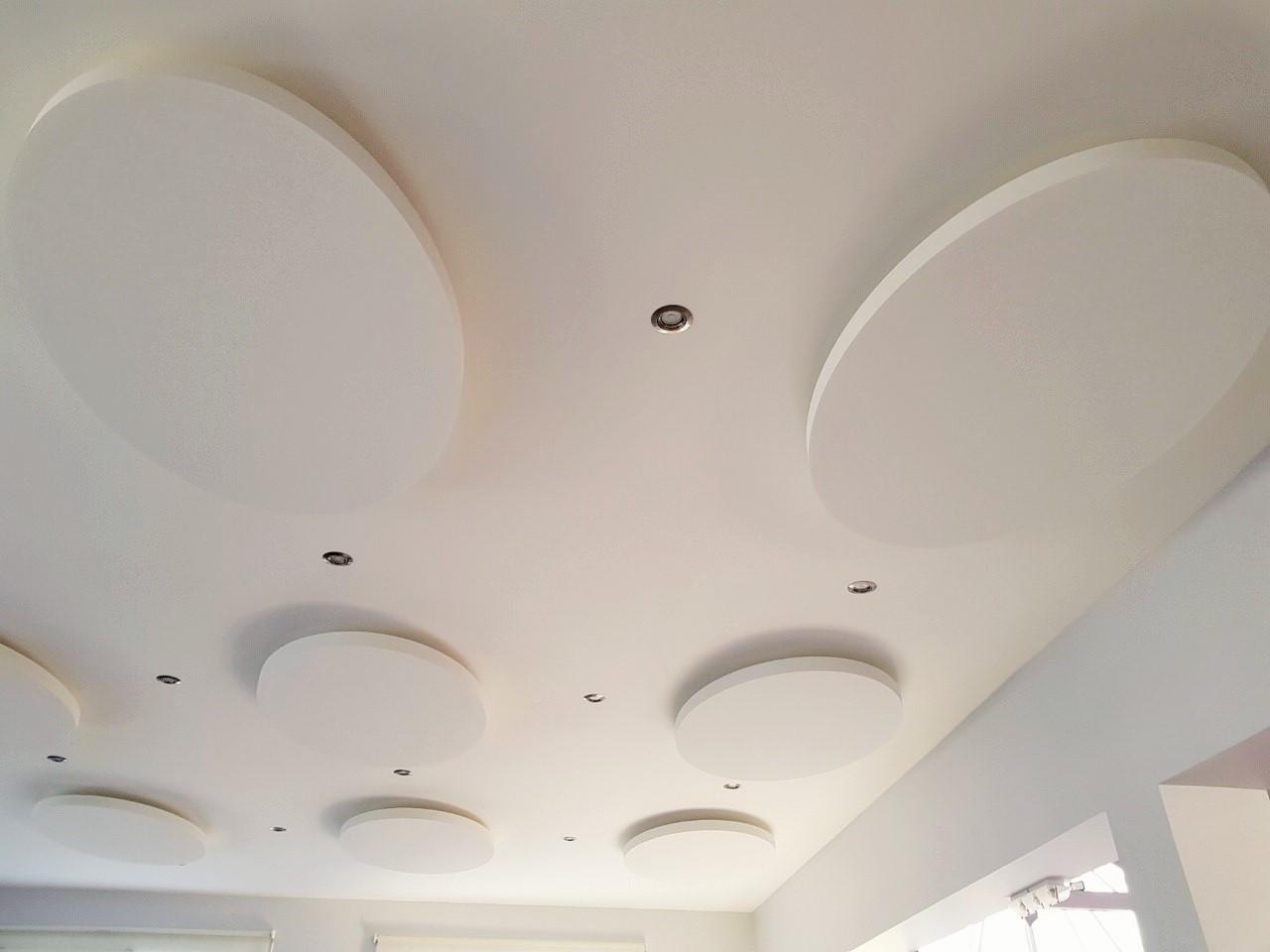 Capteurs & ilots acoustiques - Capteurs & ilots Capteur Acoustic Panel 2V posé au plafond par suspension en forme d'ovale