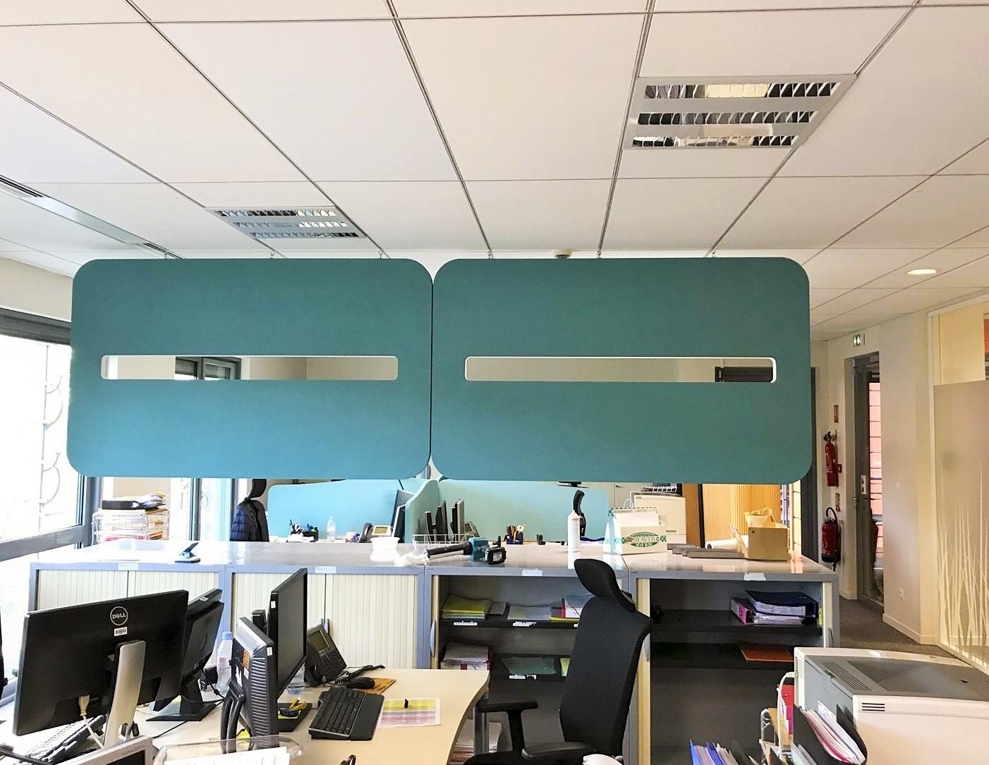 Design acoustique - Design Brise vue acoustique color posé au plafond par suspension