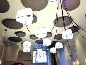 Panneaux acoustiques - Panneaux Ambiance color posé au plafond par collage en forme de cercle