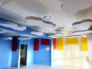 Capteurs & ilots acoustiques - Capteurs & ilots Capteur Absorber Equilibre posé au plafond par suspension en forme de nuage