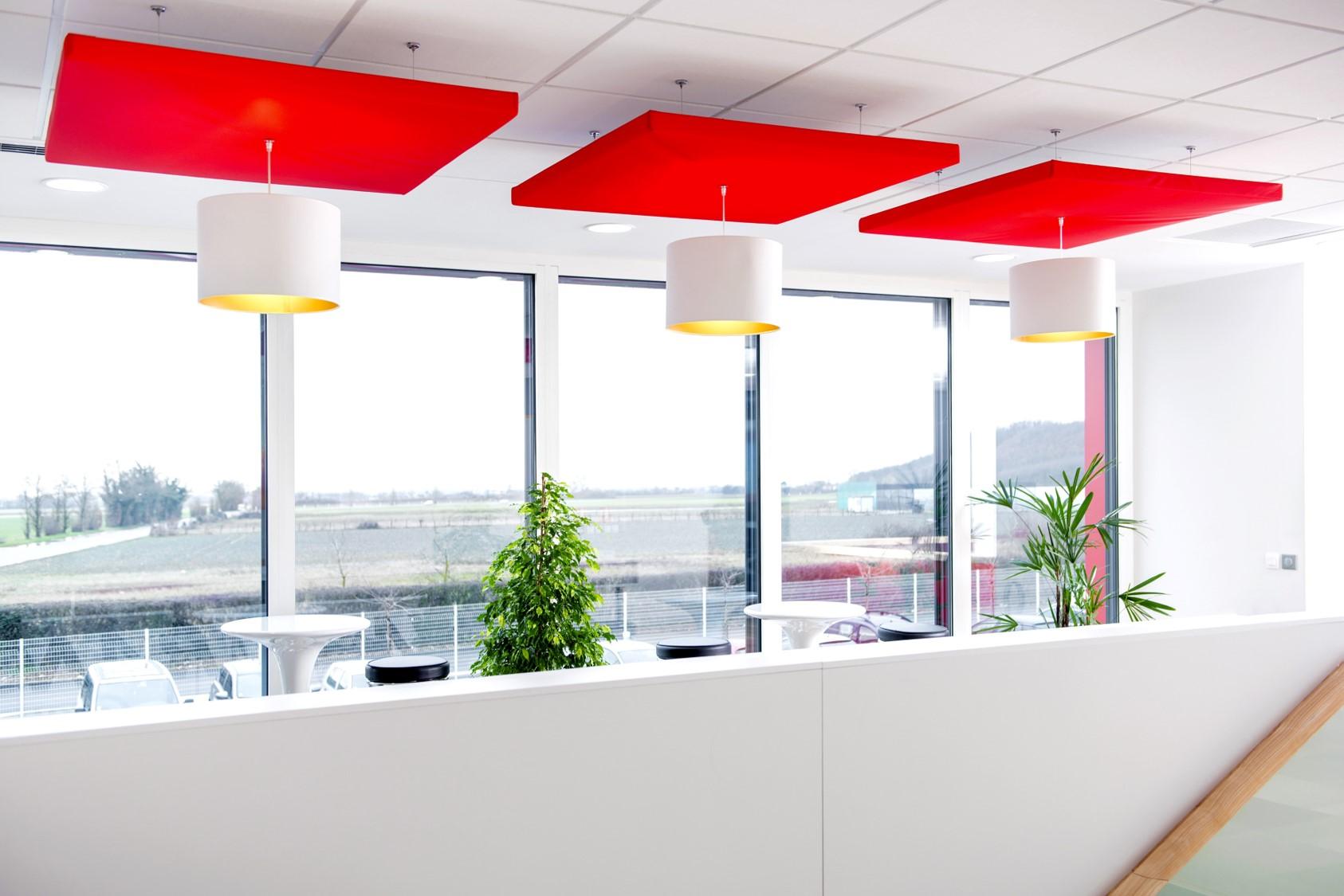 Design acoustique - Design Luminaire acoustique color posé au plafond par suspension